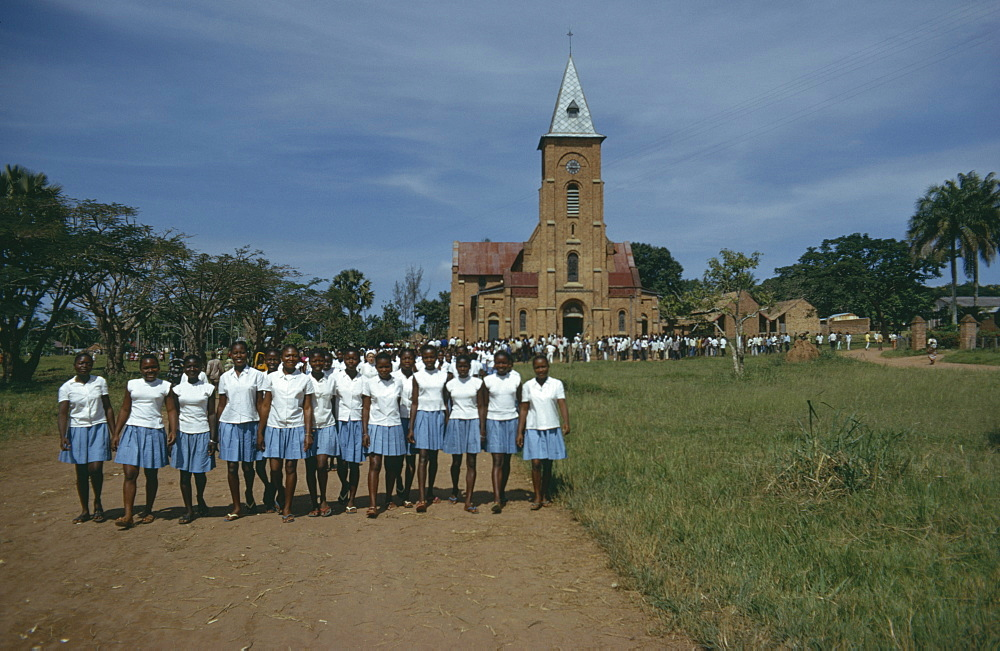 CONGO  Lisala School choir posing for photograph outside Lisala Cathedral.  Zaire