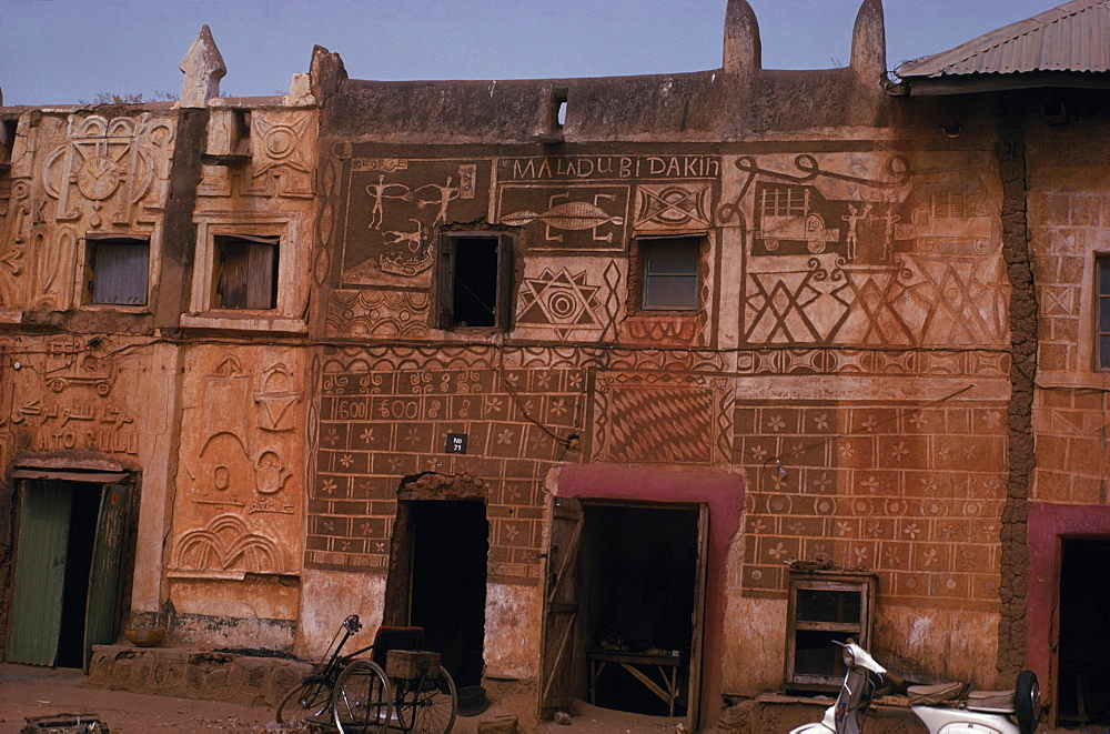 NIGERIA  Zaria Decorated and painted exterior facade of Hausa building. African Nigerian Western Africa