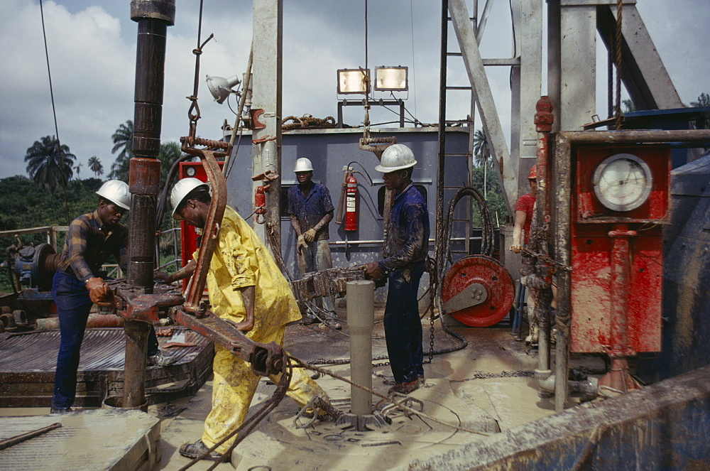 NIGERIA  Industry Workers on Shell oil rig.