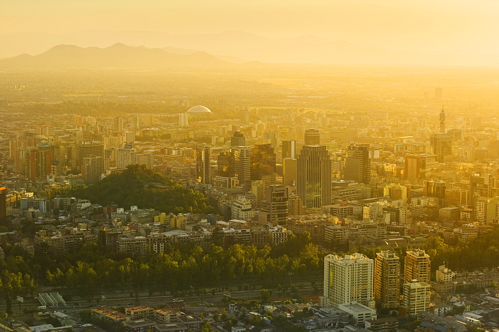 CHILE  Santiago City view at sunset from Cerro San Cristobal. Jon Hicks. Travel Holidays Tourism Latin America Santiago Chile South America Urban Skyline Viewpoint Cerro San Cristobal Pollution Smog Haze Capital City American Chilean Hispanic Latino   - 797-3891