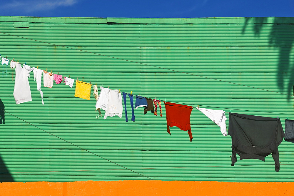 ARGENTINA  Buenos Aires Washing drying in La Boca. Colour Argentina La Boca Holidays Tourism Travel Buenos Aires South America Green Laundry Clothes American Argentinian Color Hispanic Latin America Latino Clean Cleaning Laundering  - 797-3921