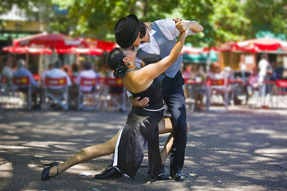 ARGENTINA  Buenos Aires Tango dancers in Plaza Dorrego  San Telmo. Argentina Holidays Tourism Travel Buenos Aires South America Icon Two Tango Pose Intimate Dance Plaza Dorrego Dance American Argentinian Hispanic Latin America Latino Gray Performance Grey 2 Immature