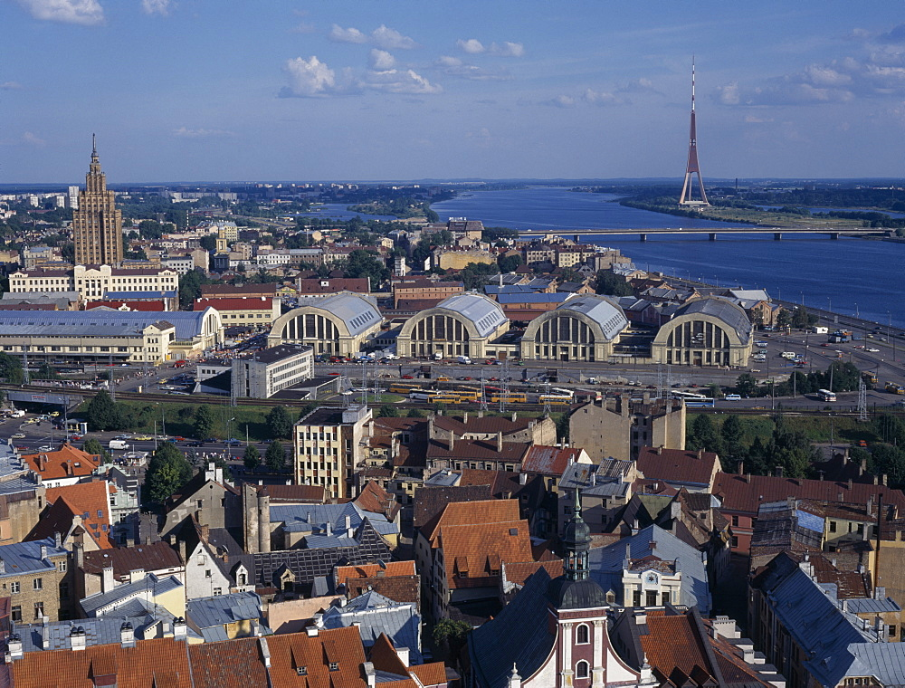 LATVIA  Riga City skyline and the Daugava River.  Baltic European Latvian Latvija Northern Europe