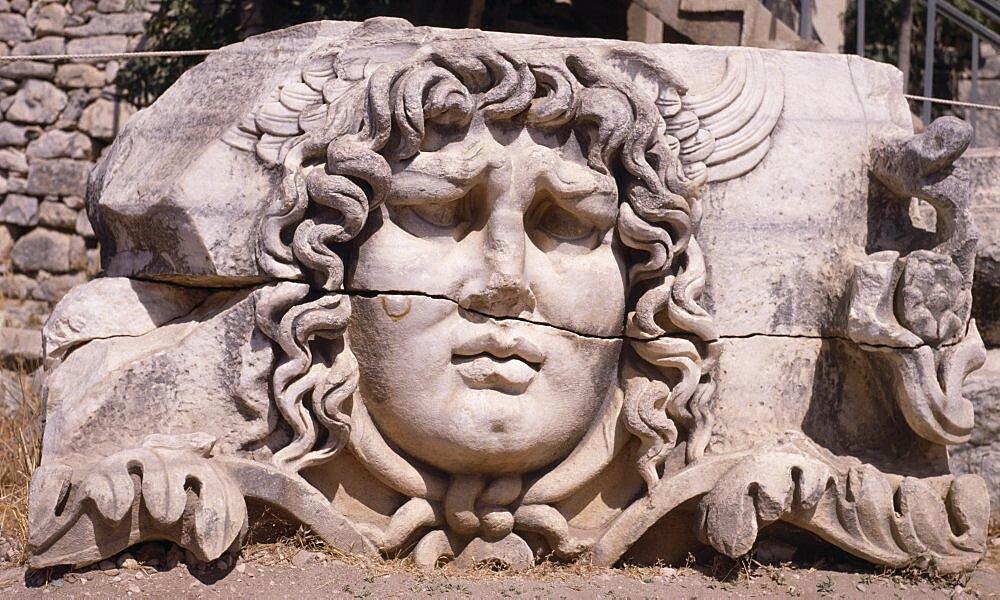 Temple of Apollo, Carved head of Medusa, Didyma, Altinkum, Turkey