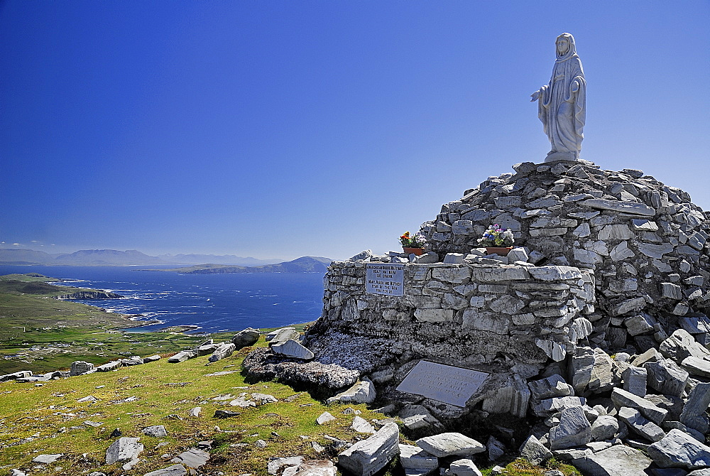 Ireland, County Mayo, Achill Island, Minaun Cliffs, Statue of Blessed Virgin Mary on summit of the cliffs