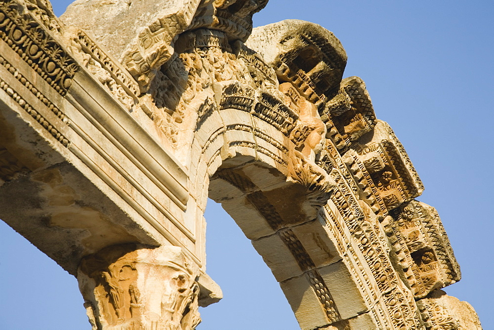 Turkey, Izmir Province, Selcuk, Ephesus, Detail of carved archway in ancient ruined city of Ephesus on the Aegean sea coast