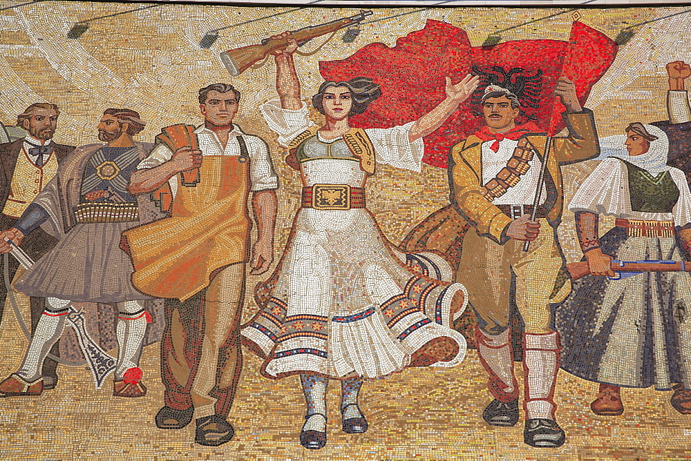 Albania, Tirana, Skanderberg Square Mosaic on the facade of the National History Museum