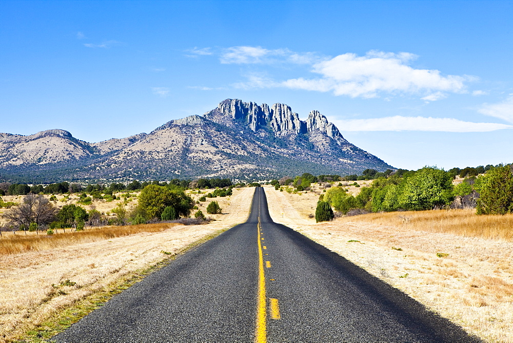 Country road toward mountain, Fort Davis, Texas, United States of America