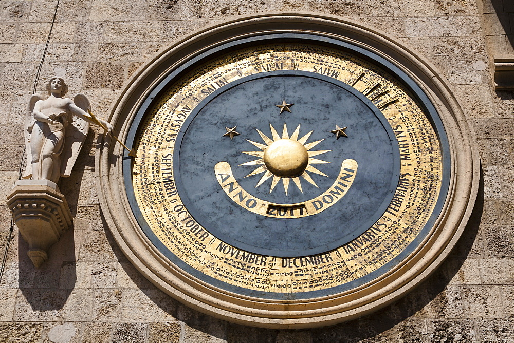 Messina Cathedral Astronomical clock on clock tower, Piazza Del Duomo, Sicily, Italy