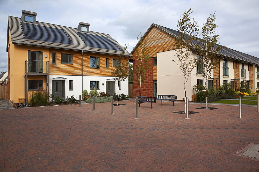 England, West Sussex, Chichester, Graylingwell Park, Modern housing with solar panels blended seamlessly in to roof tiles.