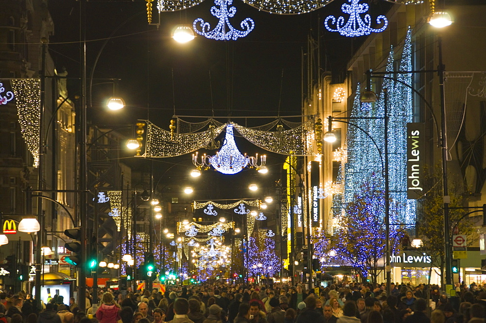 Christmas lights in Oxford Street, London, England, United Kingdom, Europe