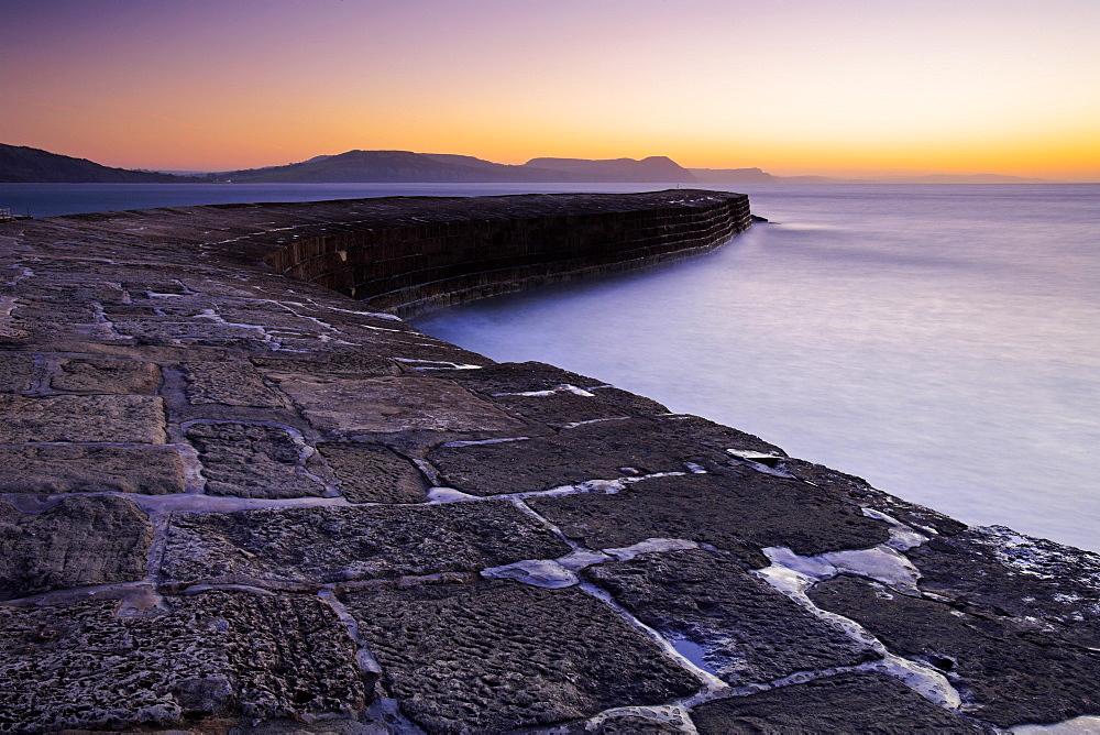 The Cobb at sunrise, Lyme Regis, Dorset, England, United Kingdom, Europe