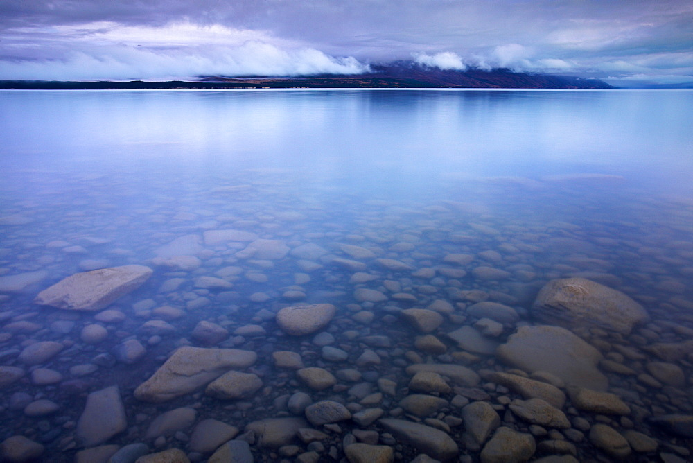Lake Pukaki on a blue morning. Canterbury, South Island, New Zealand, Pacific