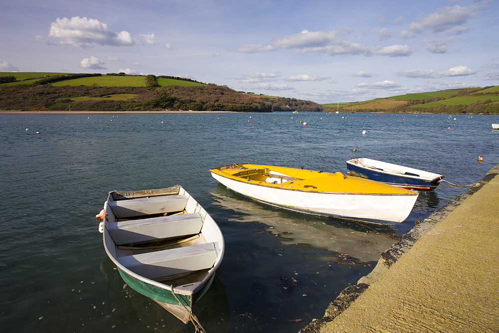 Boats moored on the River Avon estuary in Bantham, South Devon, England, United Kingdom, Europe