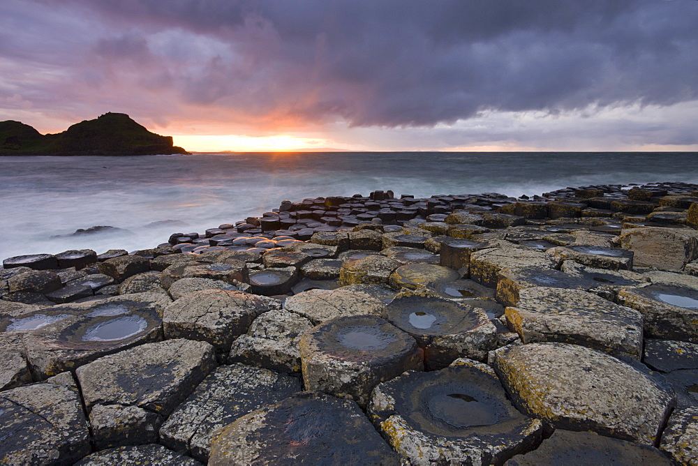 Sunset over the Giants Causeway, UNESCO World Heritage Site, County Antrim, Northern Ireland, United Kingdom, Europe