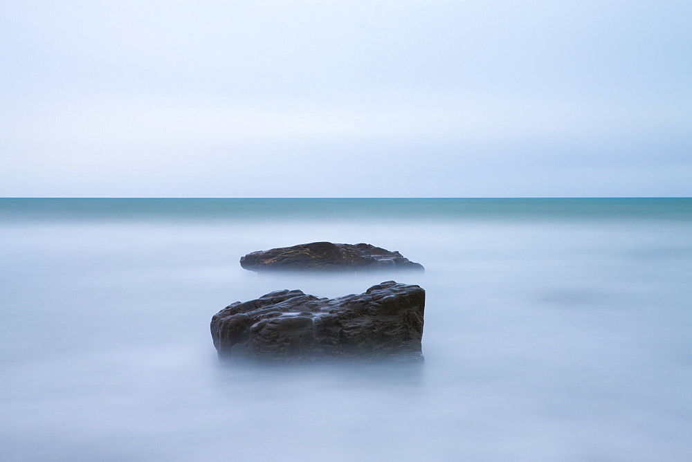 Minimilist seascape at Duckpool in North Cornwall, England, United Kingdom, Europe