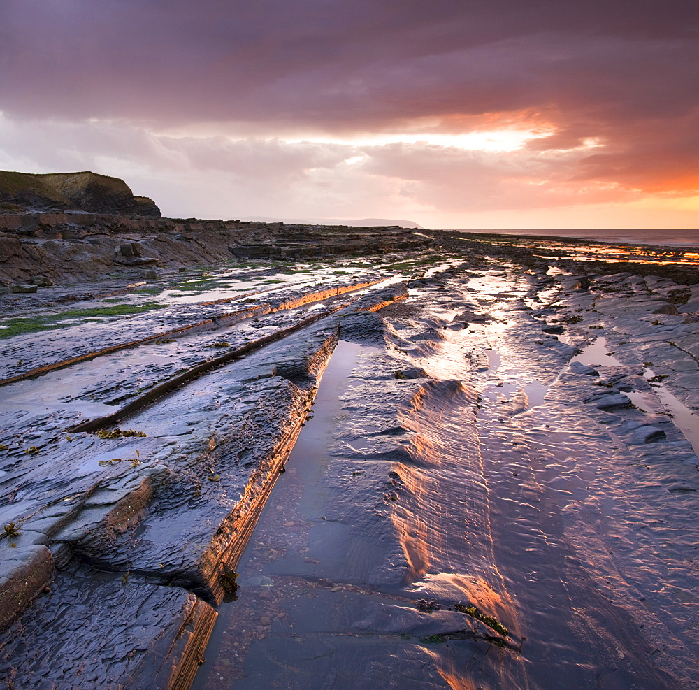Horizontal rock strata on Kilve Beach on the North Somerset coast, England, United Kingdom, Europe