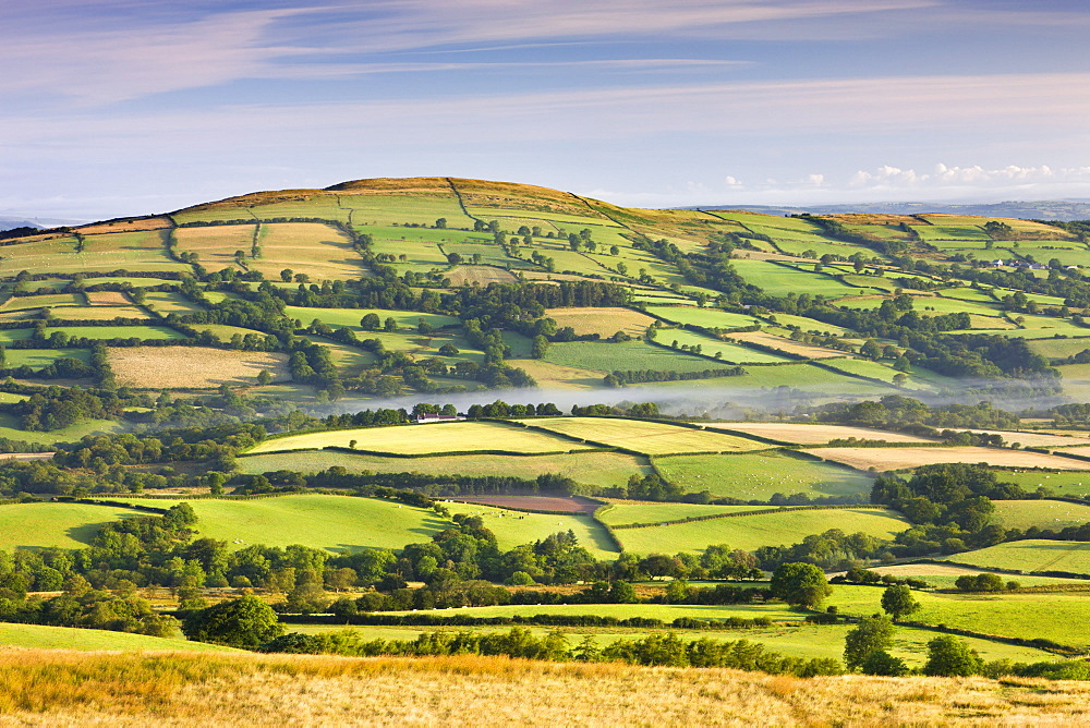 Patchwork fields and rolling countryside, Brecon Beacons National Park, Carmarthenshire, Wales, United Kingdom, Europe