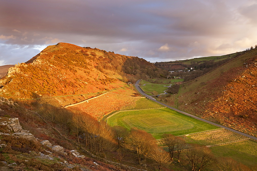 The Valley of Rocks and cricket ground, Lynton, Exmoor, Devon, England, United Kingdom, Europe