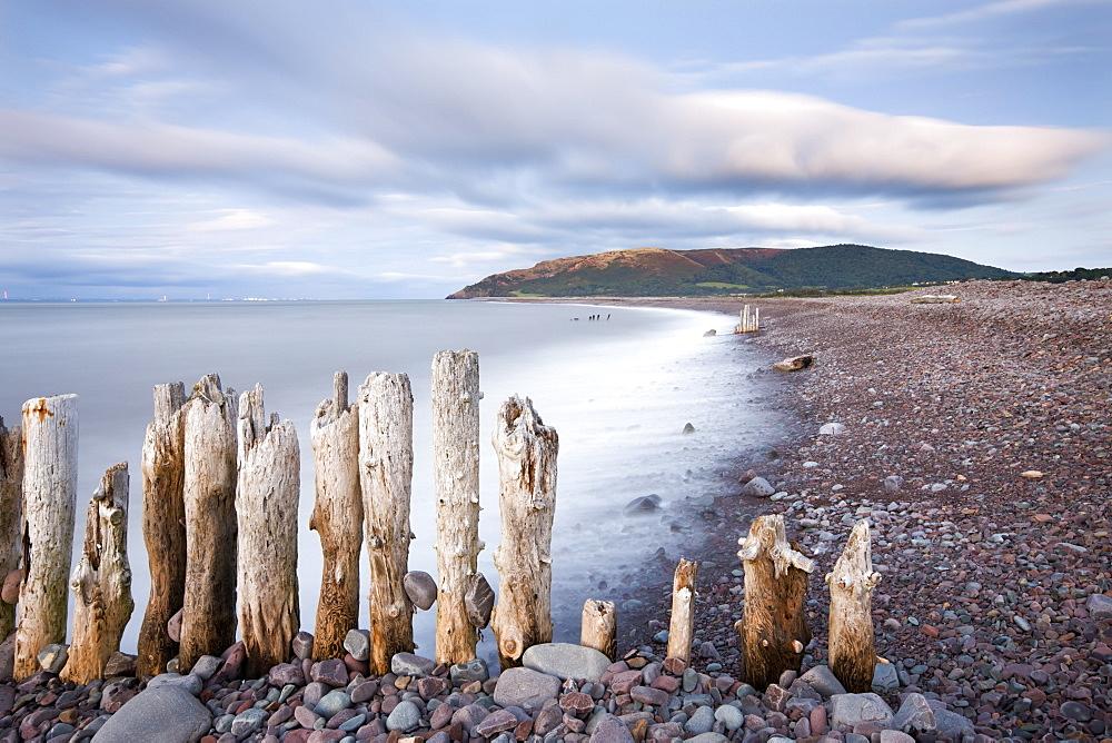 Wooden groyne sea defences on Porlock Beach, Exmoor National Park, Somerset, England, United Kingdom, Europe