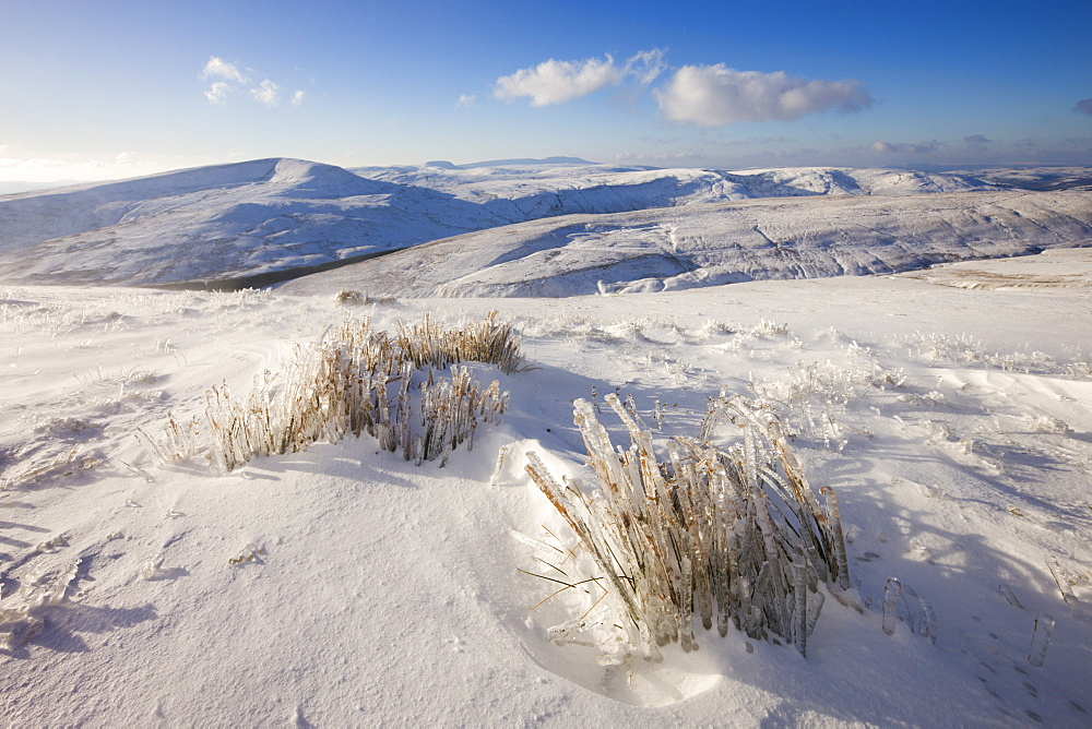 Snow covered slopes of Pen-y-Fan mountain in the Brecon Beacons National Park, Powys, Wales, United Kingdom, Europe