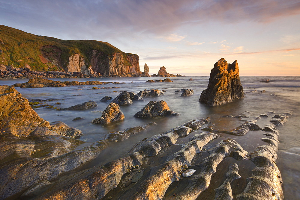 Golden evening sunlight bathes the rocks and ledges at Bantham in the South Hams, South Devon, England, United Kingdom, Europe