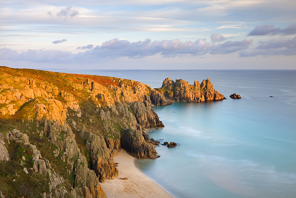 Pednvounder Beach from Treen Cliff, looking towards Logan Rock, Porthcurno, Cornwall, England, United Kingdom, Europe