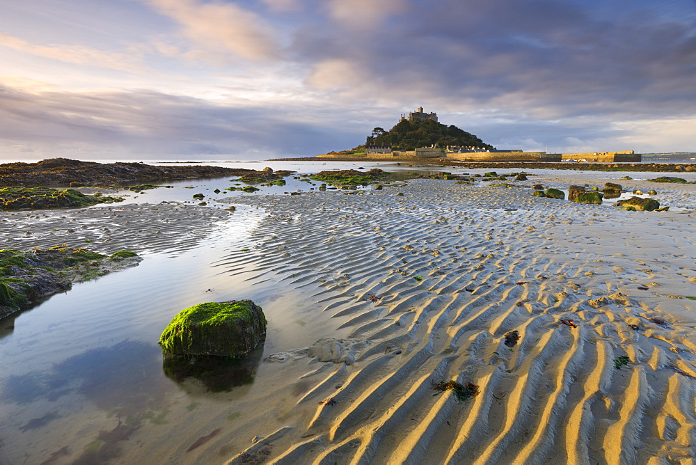 Low tide over Mounts Bay looking towards St. Michaels Mount, Cornwall, England, United Kingdom, Europe