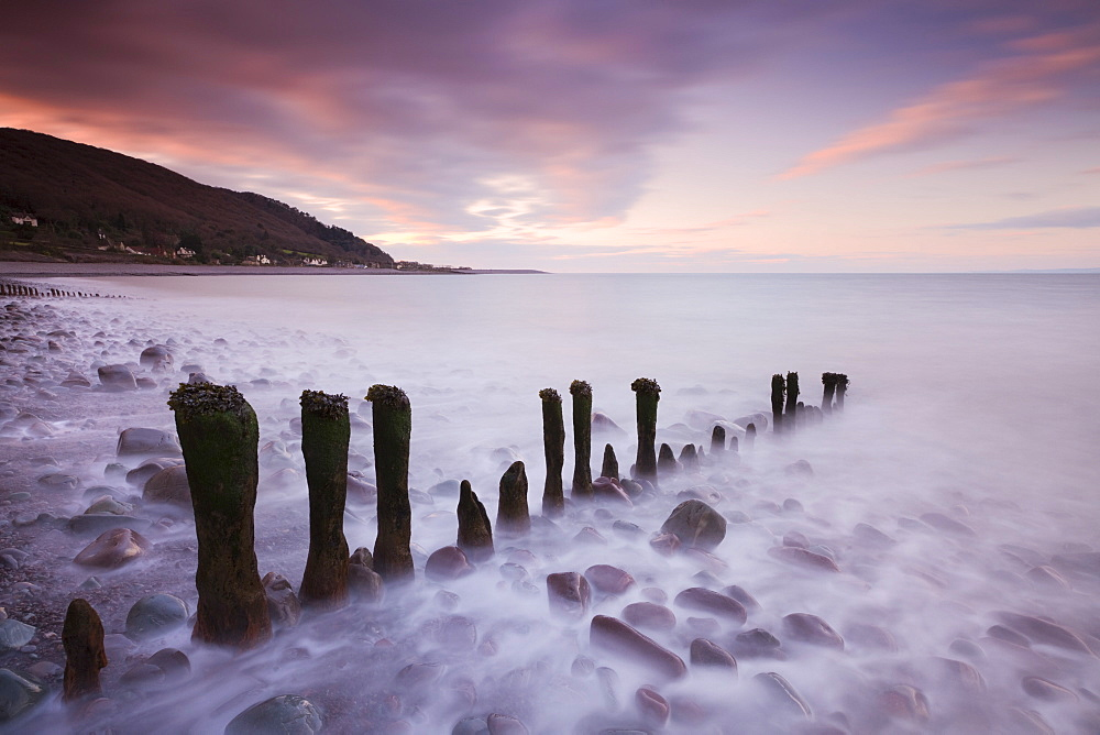 Weathered wooden groyne on Porlock Beach, Exmoor National Park, Somerset, England, United Kingdom, Europe