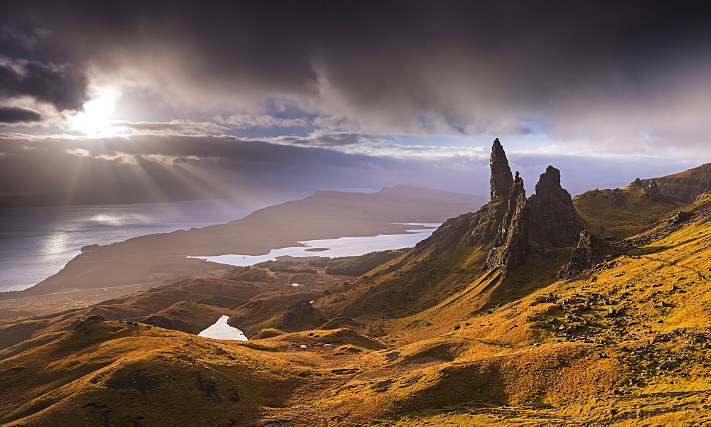 Dramatic autumn light on the Old Man of Storr, Isle of Skye, Inner Hebrides, Scotland, United Kingdom, Europe