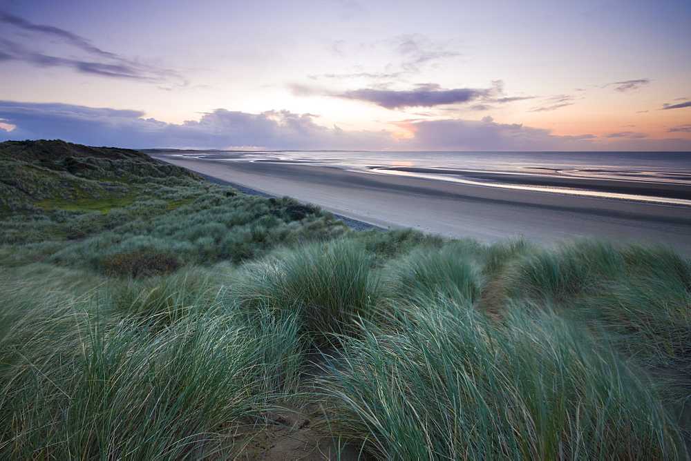 Sand dunes at Murlough Nature Reserve, with views to Dundrum Bay, County Down, Ulster, Northern Ireland, United Kingdom, Europe