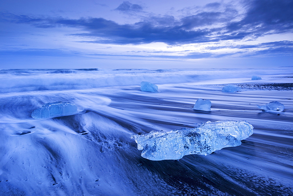 Ice and waves on Jokulsarlon Beach in winter, South Iceland, Polar Regions  - 799-2351