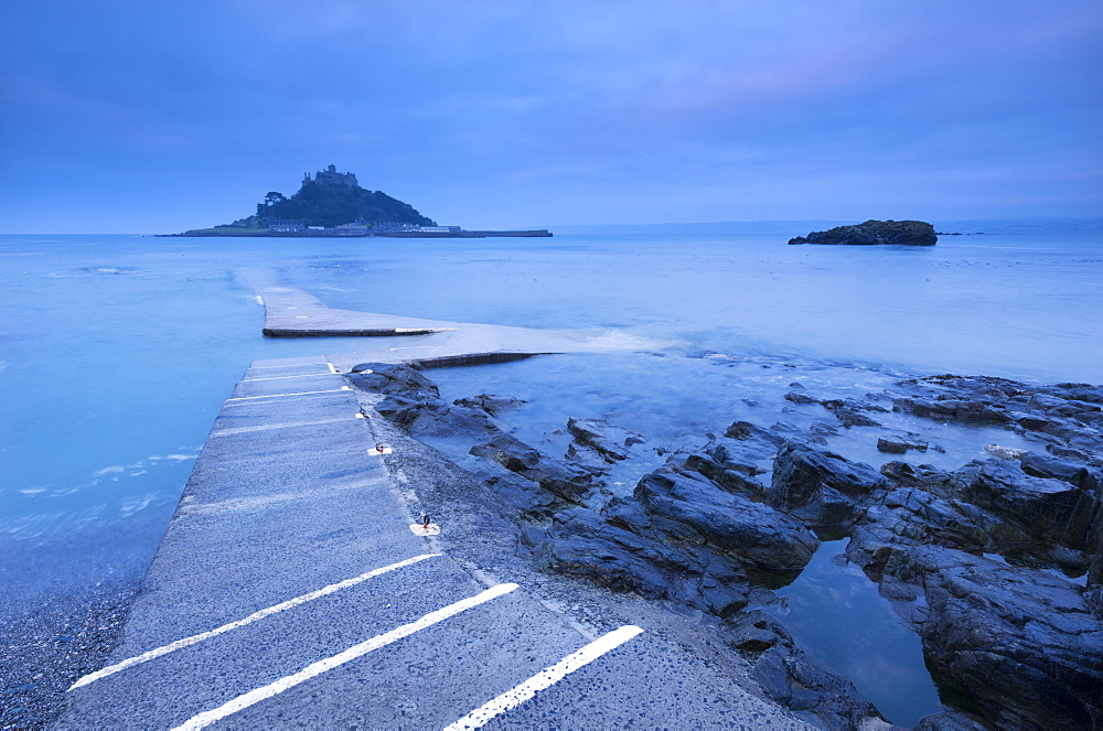 Slipway at St. Michael's Mount at dawn, Marazion, Cornwall, England, United Kingdom, Europe