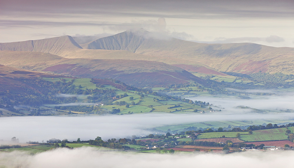Mist covered rolling countryside in autumn backed by Pen y Fan mountain, Brecon Beacons, Powys, Wales, United Kingdom, Europe