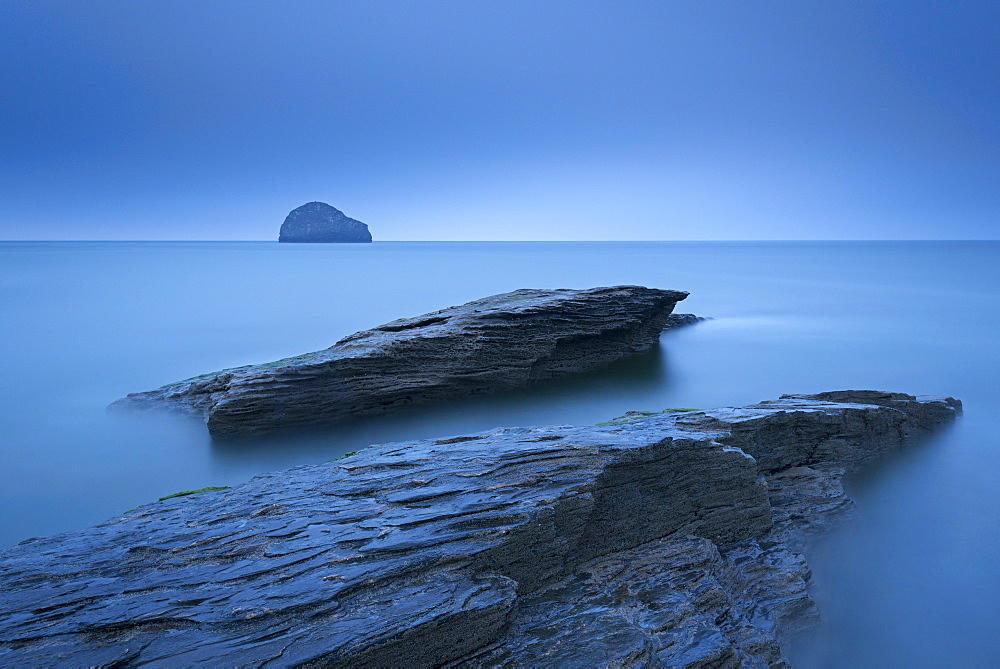 Twilight on the rocky North Cornish coast at Trebarwith Strand, Cornwall, England, United Kingdom, Europe