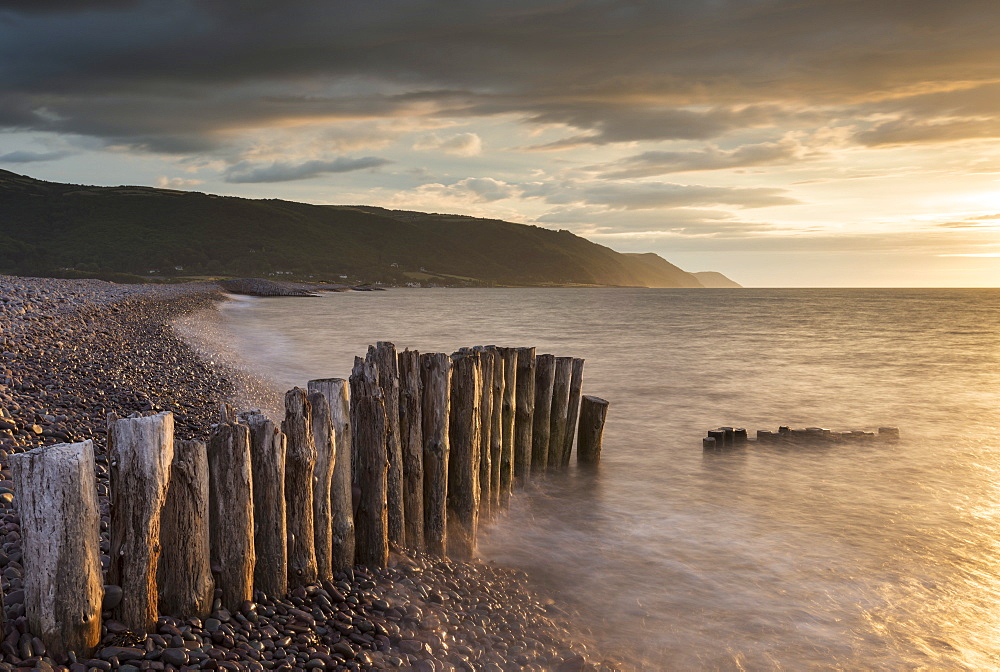 Sunset over Bossington Beach in Exmoor, Somerset, England, United Kingdom, Europe