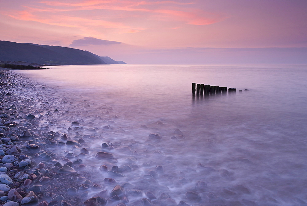 High tide at Bossington Beach at sunset, Exmoor, Somerset, England, United Kingdom, Europe