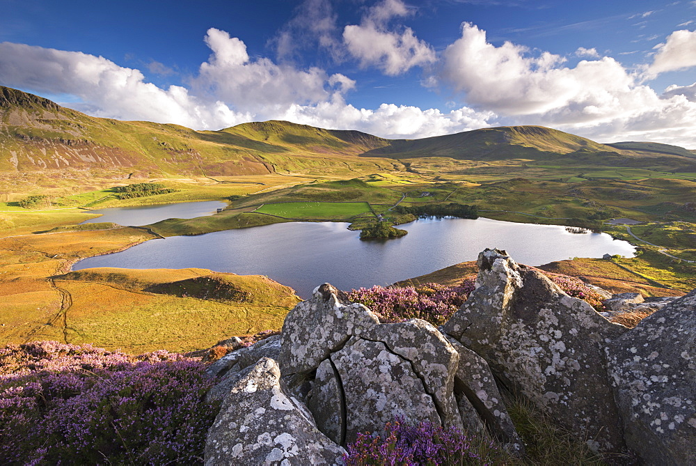 Sunlit mountains surrounding Cregennen Lakes, Snowdonia National Park, Wales, United Kingdom, Europe