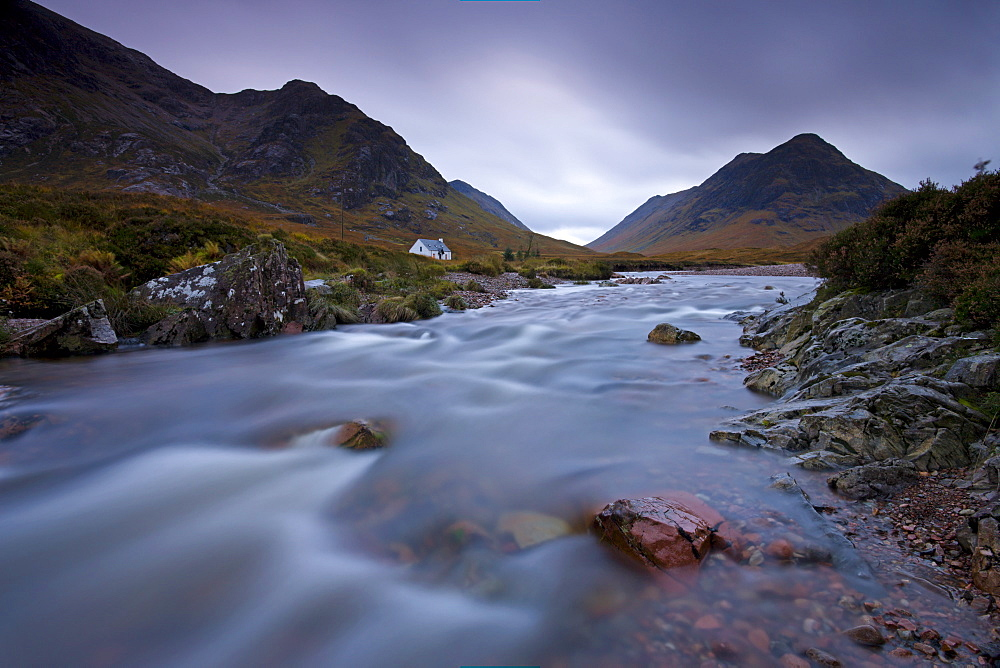 Lagangarbh cottage beside in River Coupall in Glen Coe, Highlands, Scotland, United Kingdom, Europe