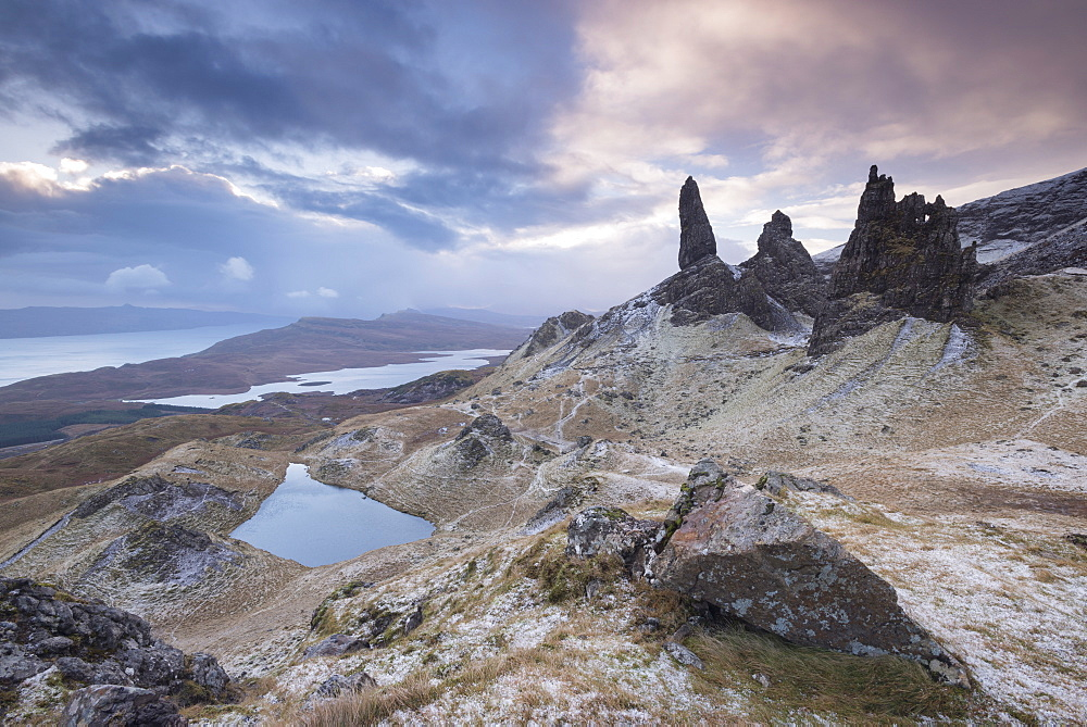 Winter scene at the Old Man of Storr, Isle of Skye, Inner Hebrides, Scotland, United Kingdom, Europe