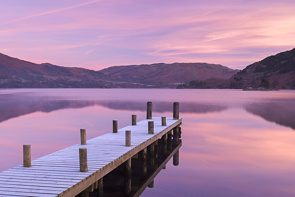 Frosty wooden jetty on Ullswater at dawn, Lake District National Park, Cumbria, England, United Kingdom, Europe