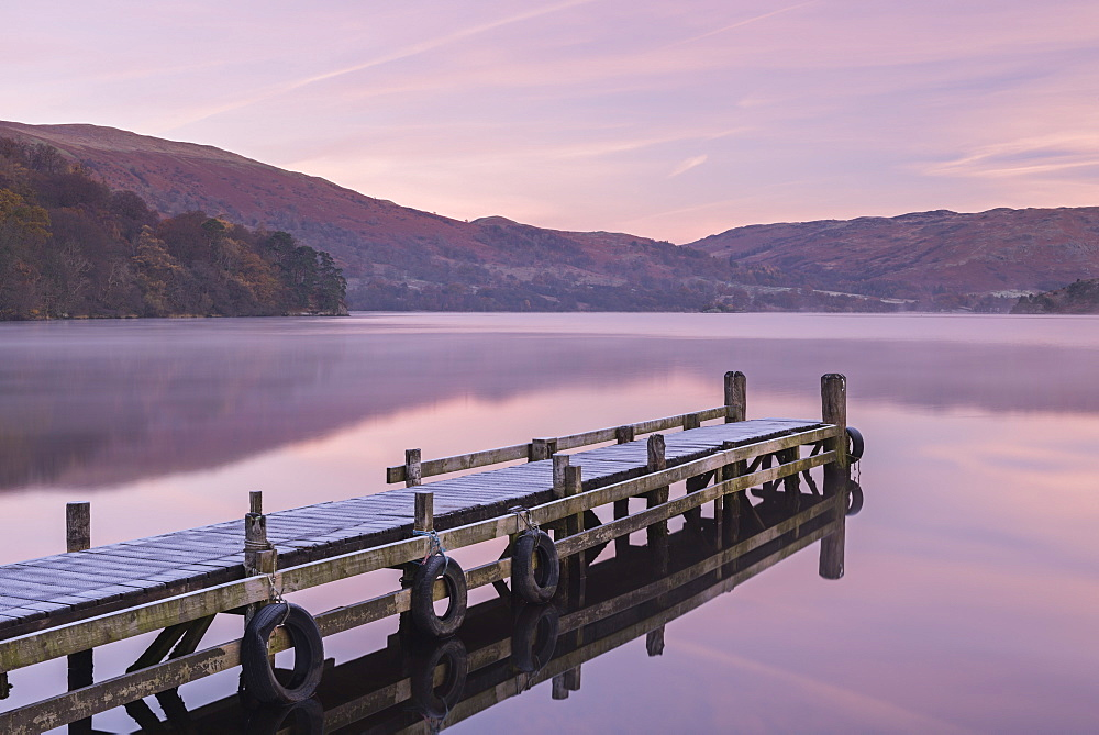 Frosty jetty on Ullswater at dawn, Lake District National Park, Cumbria, England, United Kingdom, Europe