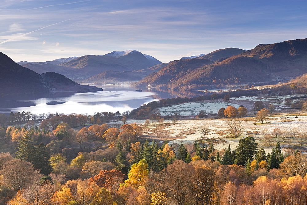 Ullswater from Gowbarrow Fell on a frosty autumn morning, Lake District National Park, Cumbria, England, United Kingdom, Europe
