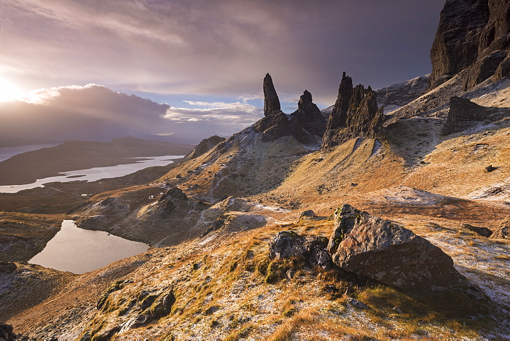 Dramatic scenery at the Old Man of Storr, Isle of Skye, Inner Hebrides, Scotland, United Kingdom, Europe