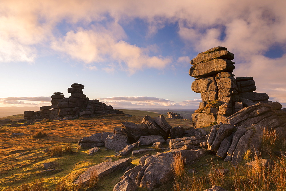 Gorgeous evening light at Great Staple Tor in Dartmoor National Park, Devon, England, United Kingdom, Europe
