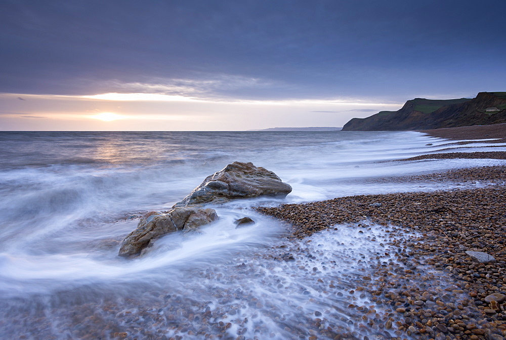 Winter sunset over Eype Beach on the Jurassic Coast, UNESCO World Heritage Site, Dorset, England, United Kingdom, Europe