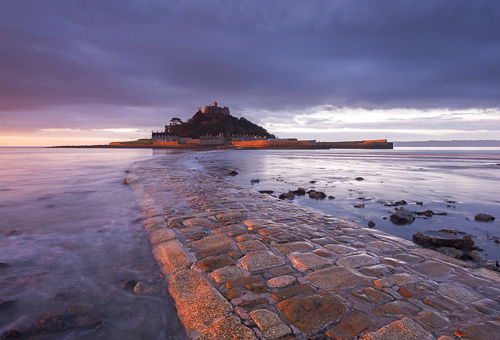 St. Michael's Mount and the Causeway at dawn, Marazion, Cornwall, England, United Kingdom, Europe