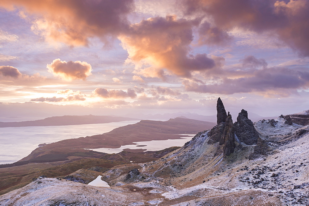 Winter sunrise above the Old Man of Storr on the Isle of Skye, Inner Hebrides, Scotland, United Kingdom, Europe