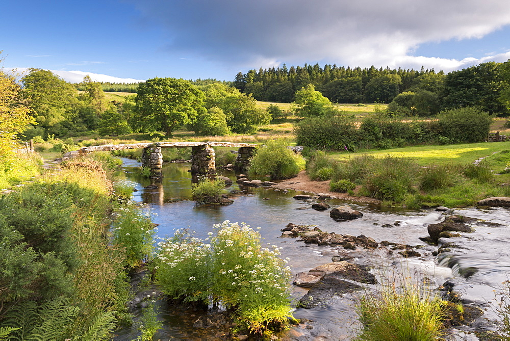Ancient clapper bridge at Postbridge, Dartmoor National Park, Devon, England, United Kingdom, Europe