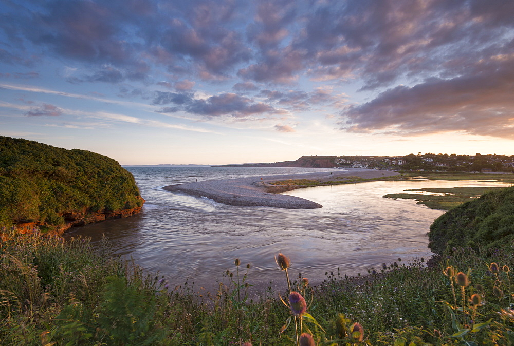Mouth of the River Otter and pebble spit, Budleigh Salterton, Devon, England, United Kingdom, Europe